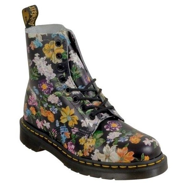 Dr. Martens Pascal Darcy Floral Women's Combat Boot ($145) ❤ liked on Polyvore featuring shoes, boots, black army boots, lace-up boots, black leather boots, black combat boots and leather military boots