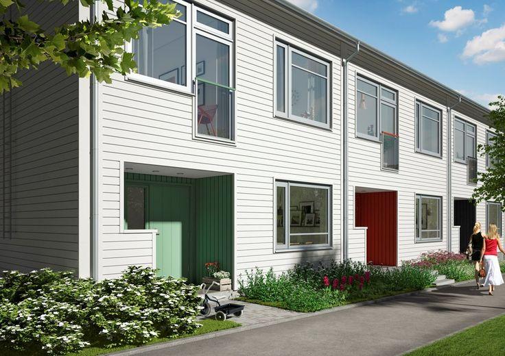 New built terraced housing Nacka, Sweden.