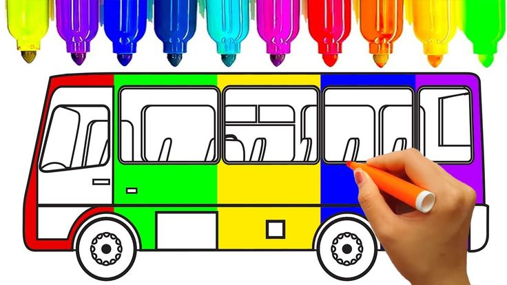 How to draw car, School bus coloring pages, Learn colors for kids , Kids...