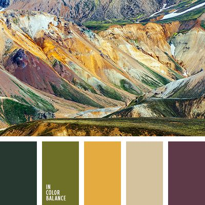 Impressive, moderately bright palette. Discreet but expressive paint. Expressed maturity and generosity tones create your own style. Purple, mustard, marsh, gray-green - an unusual, but very harmonious combination. Neutral gray-beige shade softens the contrast range. Perfect for creating sophisticated, color-filled interiors.