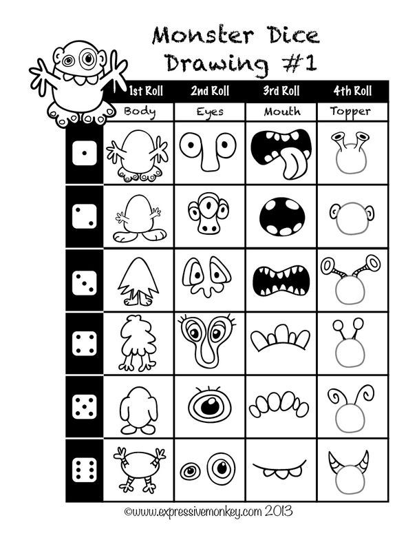 Guided drawing ideas for drawing a monster by the roll of a die!  Freebie!
