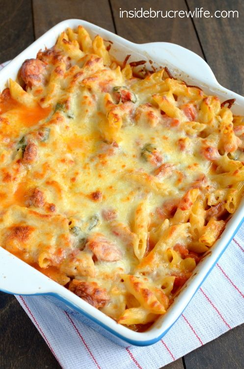 Chicken Sausage Pasta Bake - meat and pasta topped with lots of ooey, gooey cheese for a comfort food dinner