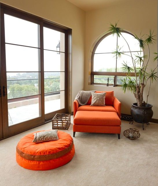 Charming Orange Sofa with Cool Design to Brightening Your Day: Cool Open Room Mediterranean Bedroom Design With Corner Seat Area Decorated With Orange Sofa And Bean Bag Also With Rustic Indoor Planter Balcony Feature ~ HKSTANDARD Decoration Ideas Inspiration