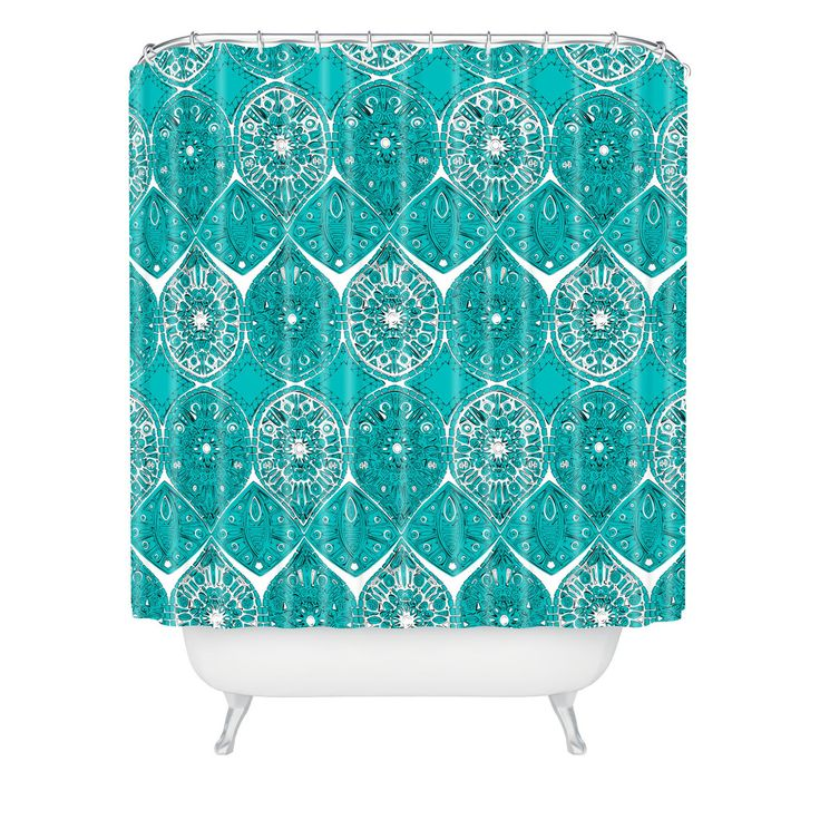 Sharon Turner Saffreya Turquoise Shower Curtain | DENY Designs Home Accessories