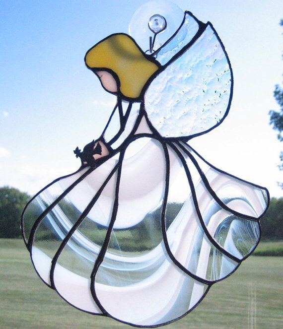 Clear and White Stained Glass Angel Guardian Angel  by GlassPizazz, $40.00