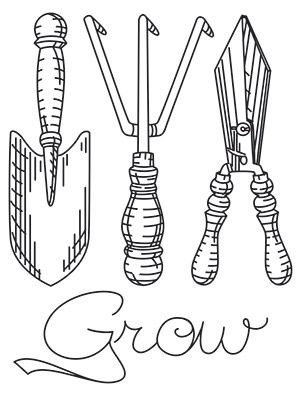 hoe garden tool coloring pages - photo#22