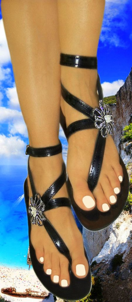 Price: 109 euros. Simply distinguished !! Handmade, handsewn pure leather sandals decorated by Czech made motifs with white pearls and transparent crystal strass on silver (gun metal) plated basis.Visit our upgraded web store and get 20% OFF all your purchases !! #InnovativeGreekSandals #flatsandals #weddingflats