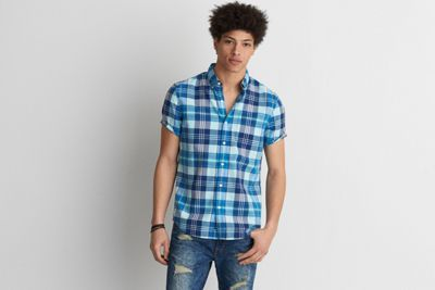 AEO Short Sleeve Madras Shirt by  American Eagle Outfitters | The classic button down shirt, updated in a versatile short sleeve silhouette and printed to perfection. Shop the AEO Short Sleeve Madras Shirt and check out more at AE.com.