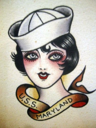 Tattoo Flash - Girl With Sailor Cap 02 by Johnny Delinquent, via Flickr