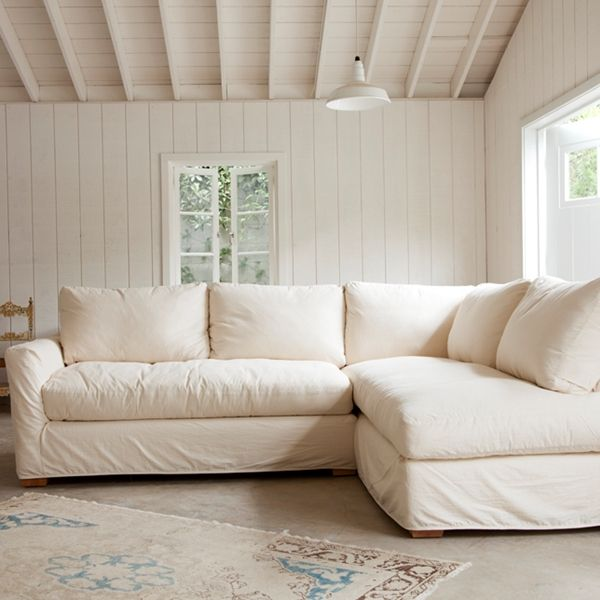 The Simple Sectional Sofa  Down & Feather seat and back cushions. Handmade by quality craftsman using kiln dried hardwoods and eight-way hand tied construction. Shown in Muslin.