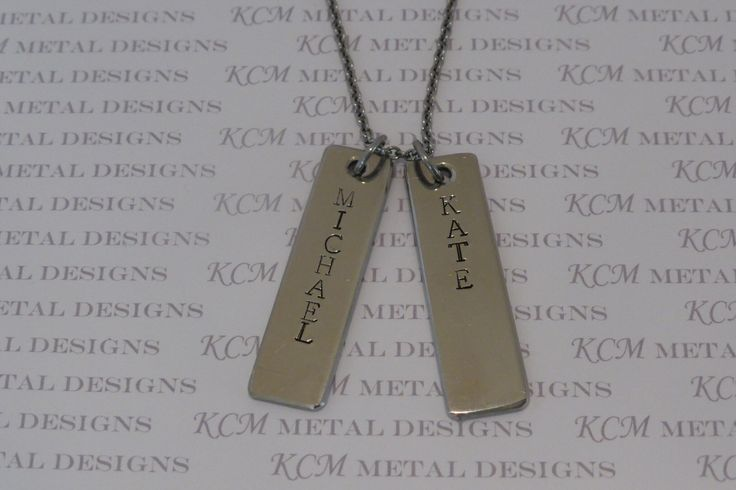 This is the 'Peta' necklace. 45mm long, 12mm wide and 2mm thick. Available in Stainless Steel Silver $27 for 2 bars. You can choose your own names to be stamped or leave it blank.
