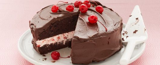 Cherry Jubilee Cake Sweet Cherries And Chilled Whipped