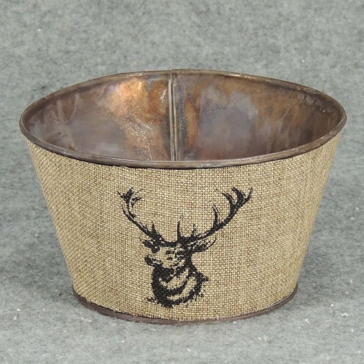 """1 Pc, 6"""" Wide & 4"""" Tall Elk Planter With Liner A Nice Addition To Primitive/Outdoor Style Winter Decorations, Grey metal, Outdoor Décor"""