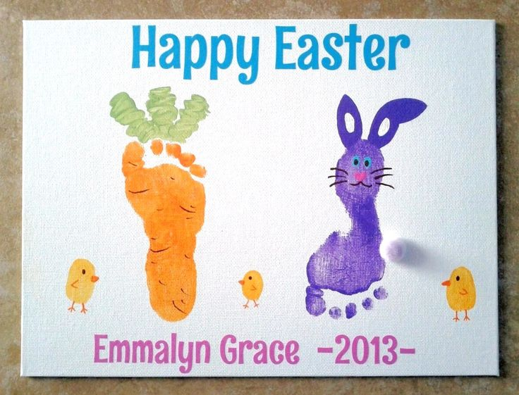 Easter Foot Prints 2013: We took prints of Emmalyn's left foot and made it into a bunny and her right foot we made into a carrot. The little chicks are Mommy & Daddy's thumbprints.