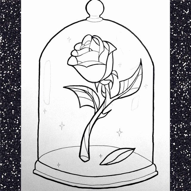 Beauty And The Beast Rose Coloring Page Awesome Pinterest The World S Catalog Of Ideas Beauty And The Beast Drawing Rose Coloring Pages Rose Outline