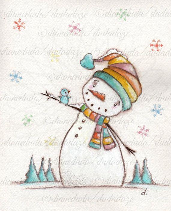 "Original Mixed Media Snowman painting on Watercolor Paper by DUDADAZE, $35.00 ""Hello, bluebird"" ©dianeduda/dudadaze"