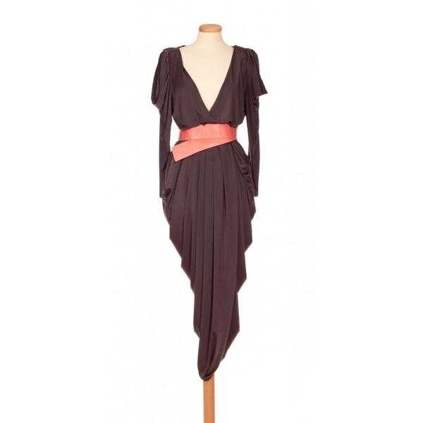 Annaeva Draped Jersey Dress - Very Dark Grey ($185) ❤ liked on Polyvore