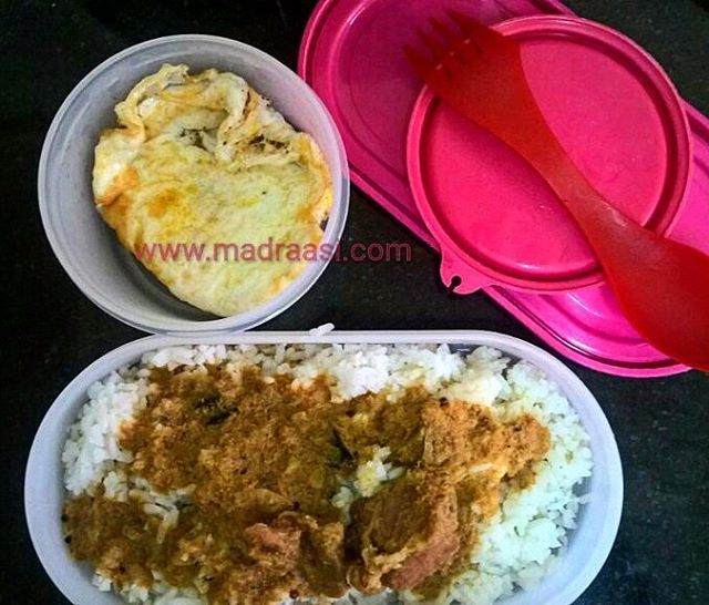 In Box - Lamb (Mutton) curry and Full Boil  Recipe for Lamb curry - https://madraasi.com/2015/08/25/lamb-curry-varuthu-aracha-mutton-kulambu/ and Recipe for Full boil - https://madraasi.com/2014/05/15/full-boil/  #madraasi #lunchbox #lunchboxrecipes #lunchbag #kidslunchbox #lunchboxideas #mylunch #Indianlunchbox #mylunch #lunchboxrevolution #lunchtime #tamillunchbox #southIndianlunchbox #southIndianlunchboxideas #tamillunchboxideas #nonvegetarianlunchbox