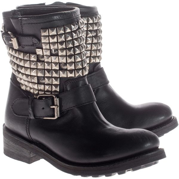 ASH TITAN Biker Black Studded leather boots ($175) ❤ liked on Polyvore featuring shoes, boots, botas, footwear, studded leather boots, black punk boots, biker boots, punk boots and black motorcycle boots