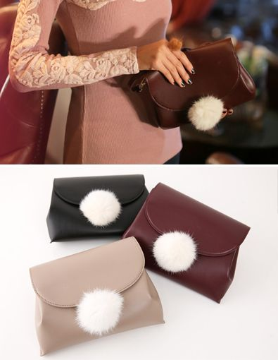 StyleOnme_No. 34832 #bag #clutches #fur