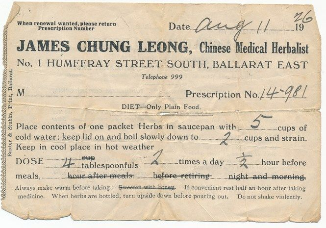 Receipt from James Chung Leong, Chinese Medical Herbalist, 1 Humffray Street South, Ballarat East, 1926.