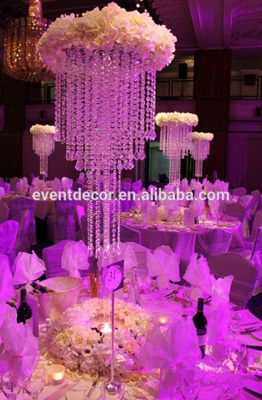 chandelier flower centerpiece  | grande lampadario di cristallo e fiori stand centrotavola di nozze per ...