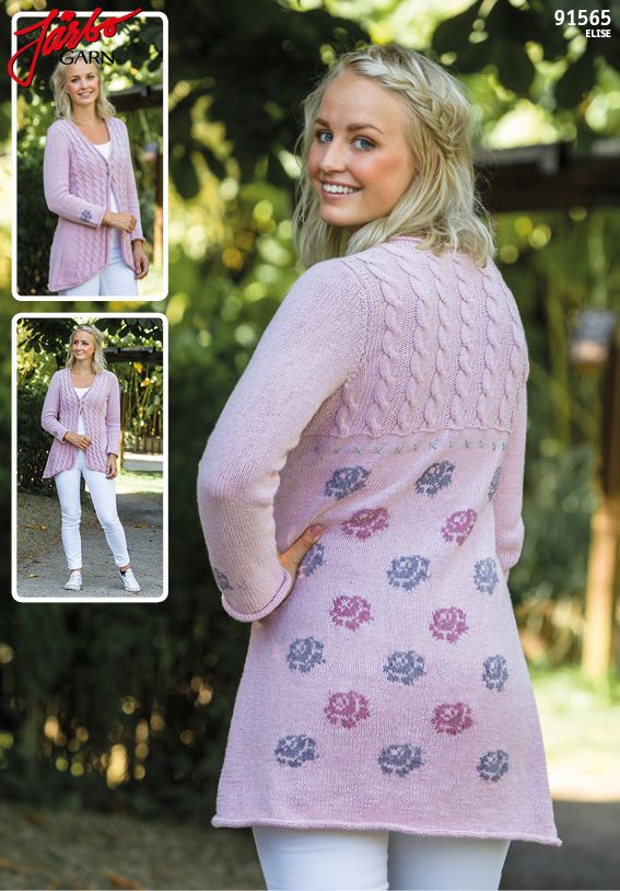 """The Rose"" cardigan. Knit it in our soft cotton and acrylic yarn Elise."