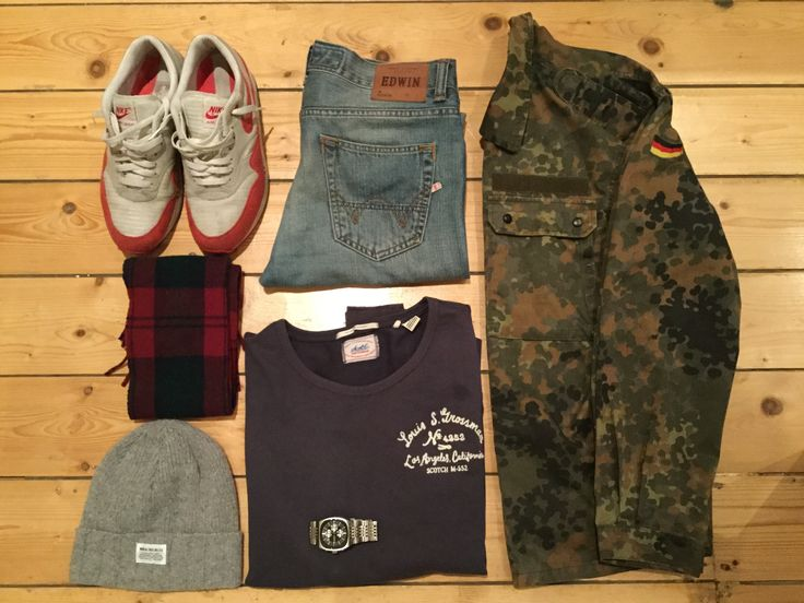 Edwin jeans, army surplus jacket, Nike air max 1, scotch sweatshirt, Norse projects beanie