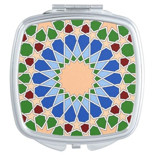 Islamic geometric pattern compact mirror