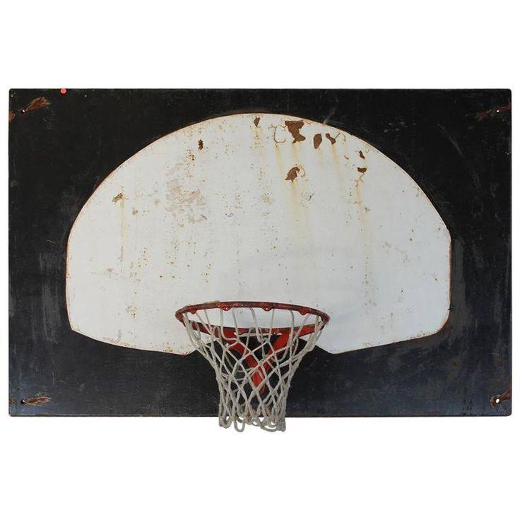 Original 1920s metal basketball backboard and cast iron