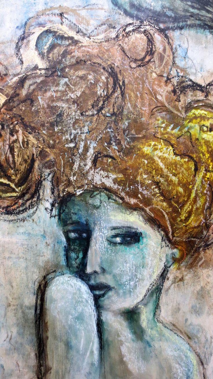 Vertige par Christyne Proulx/ ©2016/ Technique mixte sur bois/ 24X48/ figurative, contemporary art, acrylique, art painting, Street Art (Urban Art), Canvas, Women, Portraits, femme, street art, patchwork, peinture, contemporain, abstrait, tableau street art,expressionnisme