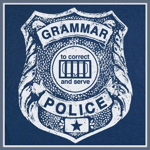 Grammar Police T Shirt Funny Reading Book Geek Nerd Teacher College Humor Tee