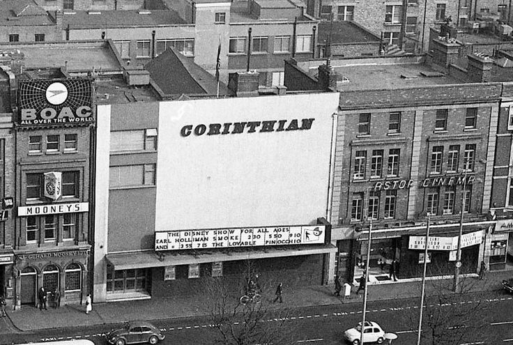 Corinthian Cinema, Eden Quay, 1971  The Corinthian Cinema opened in 1921. It was nicknamed the 'Ranch' because of the number of Westerns it showed. The Corinthian closed in July 1975 but in October of the same year it re-opened as a two screen cinema called the Odeon. In 1987 it changed its name yet again to the Screen. The cinema closed its doors for the final time in 1993.