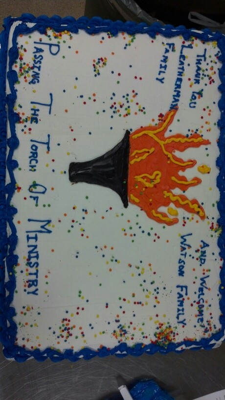 Passing the torch cake