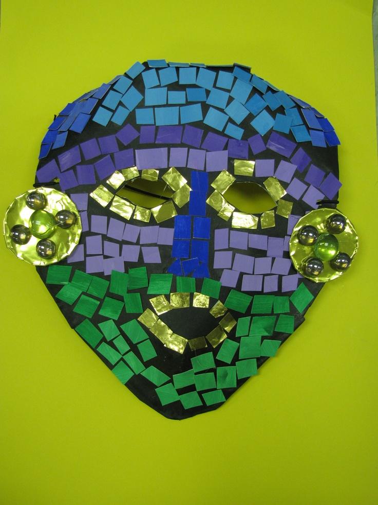 3rd grade ancient Mayan paper mache mask; lesson designed by art teacher: Susan Joe
