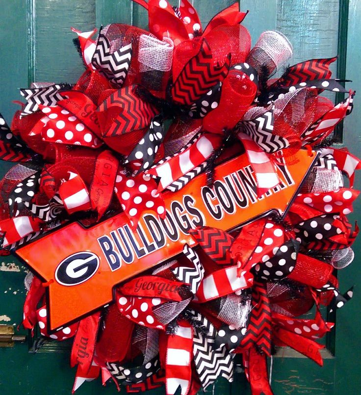 Georgia Bulldogs Wreath Bulldogs Country Wreath University of Georgia Wreath Dawgs Wreath Georgia Football Wreath UGA football Wreath by WhimsyWreathsDesigns on Etsy