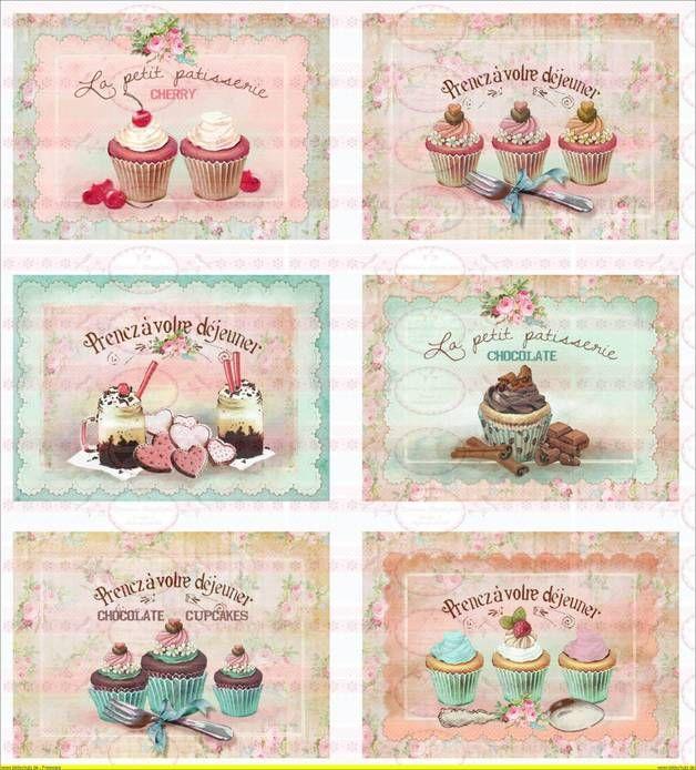 Bügelbilder - Vintage Shabby Chic french Paris Cupcake Muffin - ein Designerstück von Doreens-Bastelstube bei DaWanda