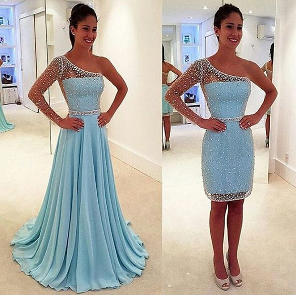 Sexy Two Piece Prom Dress,Long Sleeve Blue Graduation Dress,Two Piece Beaded Evening Dress