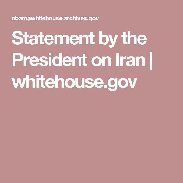 Statement by the President on Iran | whitehouse.gov
