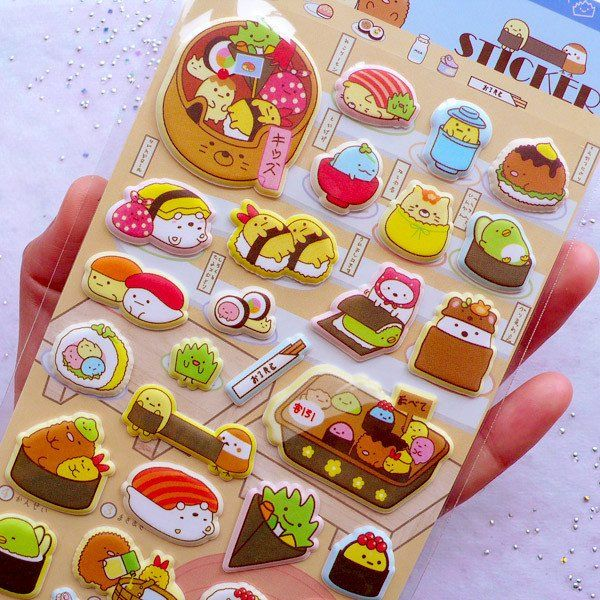 Sushi Sumikko Gurashi Puffy Stickers | Kawaii Animal Stickers | Japanese Food Sticker | Glow in the Dark Stickers | Paper Craft Supplies | Cute Embellishments (1 Sheet)