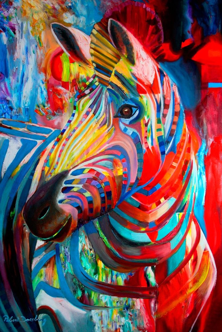 Zebra - oil by ©Robert Doesburg (via Saatchi Online)