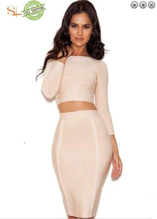 83218815b2 new brand women's dress sexy hl bandage dressOv-neck 7 quarter sleeve  bodycon khaki party dresses