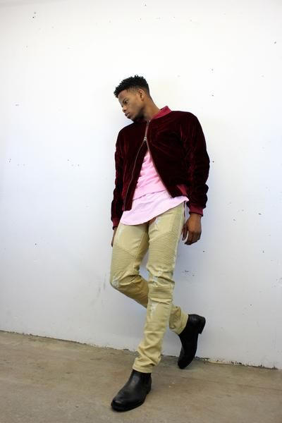 featuring the zargara Maroon velvet velour bomber jacket layered with the pink sweater and the pink scoop bottom tee and the khaki distressed biker denim jeans