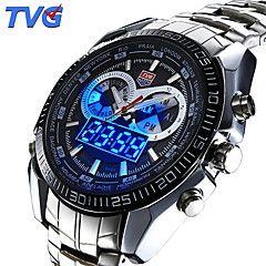 Hombre Reloj Deportivo / Reloj de Pulsera Cuarzo JaponésLED / Calendario / Resistente al Agua / Dos Husos Horarios / alarma / Reloj