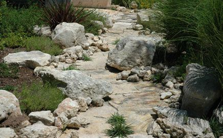 natural dry creek bed - wanting to create a dry creek bed path through the backyard. This looks more like what I am looking for. Creek on the side, sand in the middle.