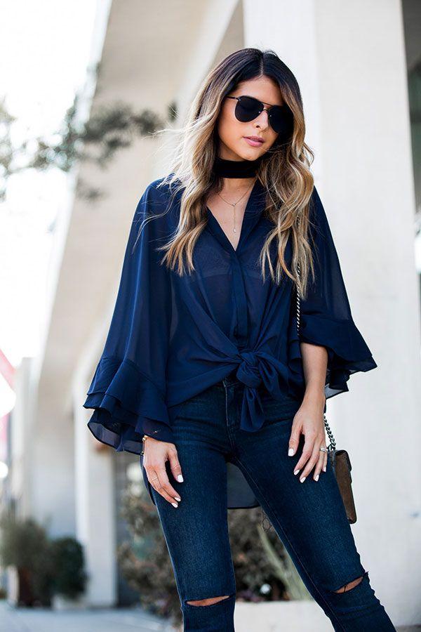 look blusa azul marinho