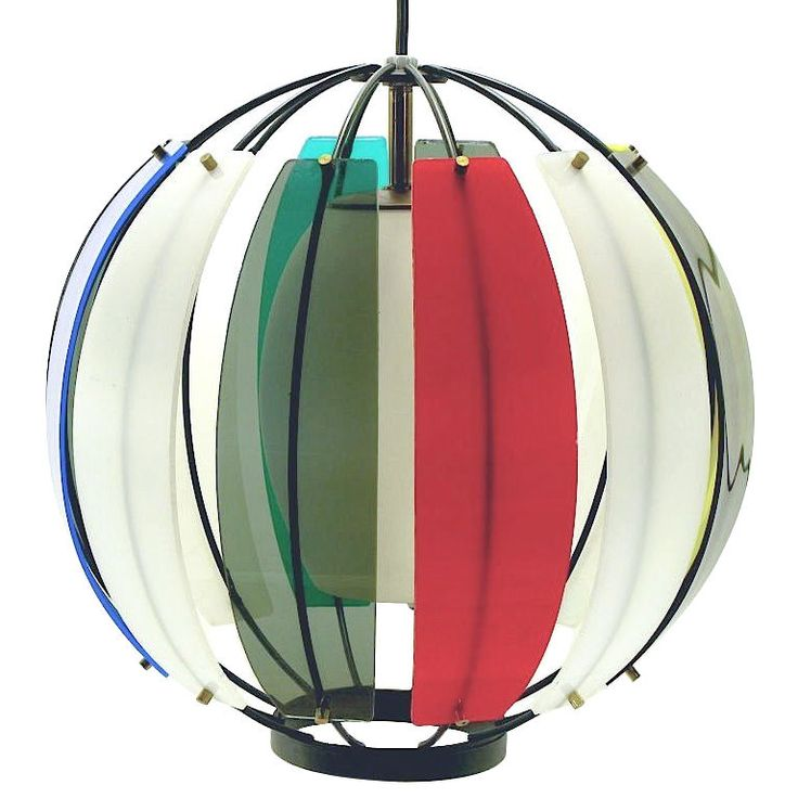 Attractive Colorful Lightolier Round Metal U0026 Ribbed Lucite Pendant Light Home Design Ideas