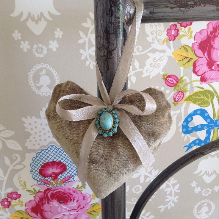 Velvet heart, silk ribbon and vintage brooch