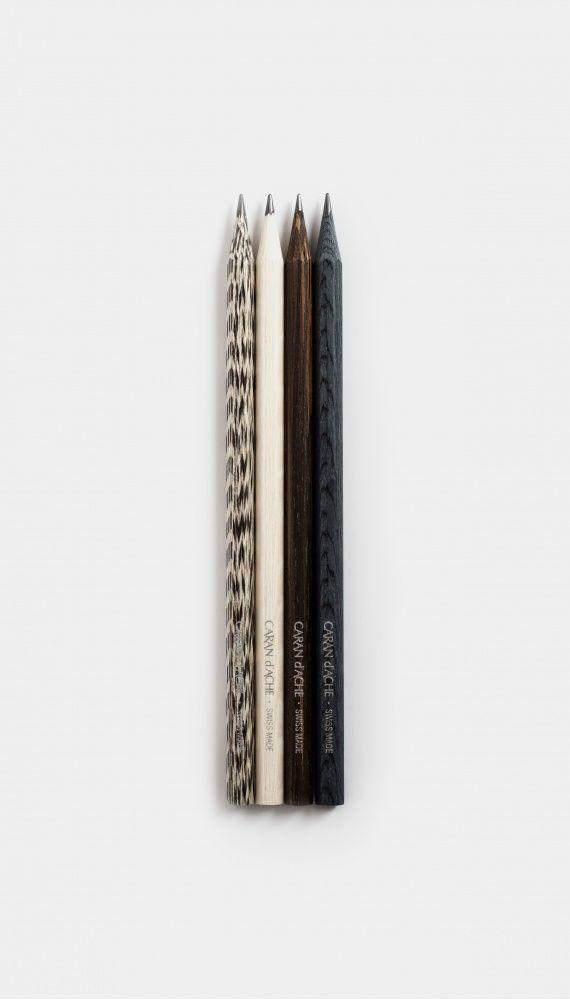 Titanium Oak, Macassar Ebony, Lati Gray, and American Walnut made by Les crayons de la maison Caran d'Ache