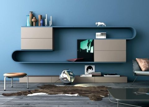 Wave Wall Unit - this is the 213.  Inspired by Italian graphics, we're told.  Totally modular - you choose how many curves and cupboards!